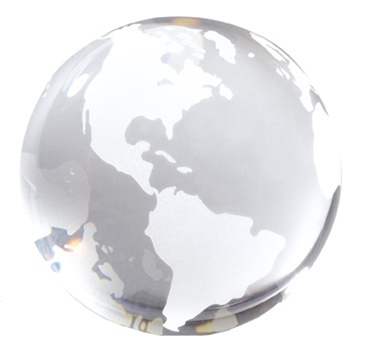 3 Inch Opti Crystal Clear Glass Globe Paperweight From