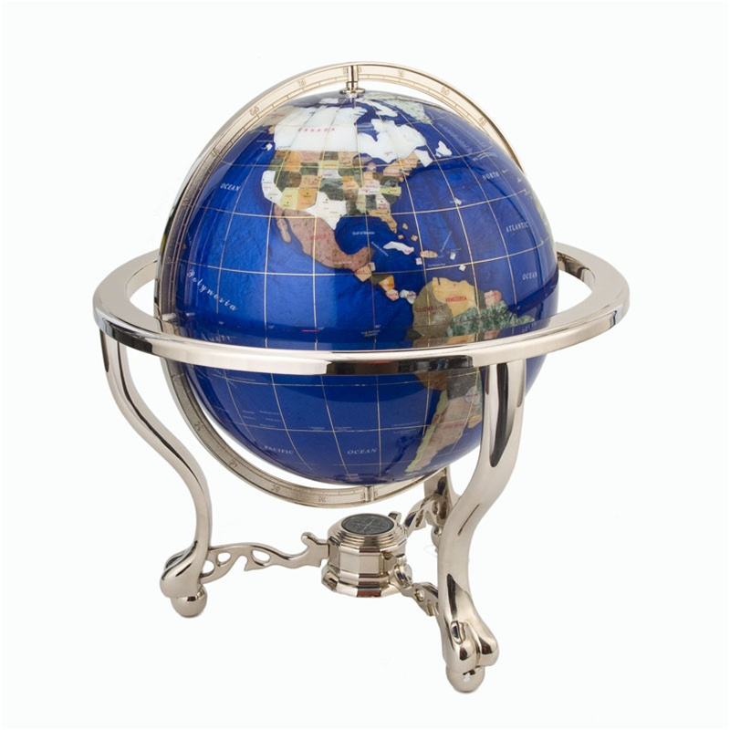 13 Inch Lapis Gemstone Globe Brass Metro Stand From