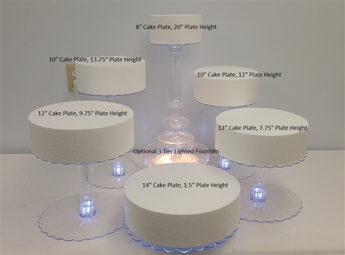 Multi Tier Wedding Cake Stand with LED Lights   6 Tier