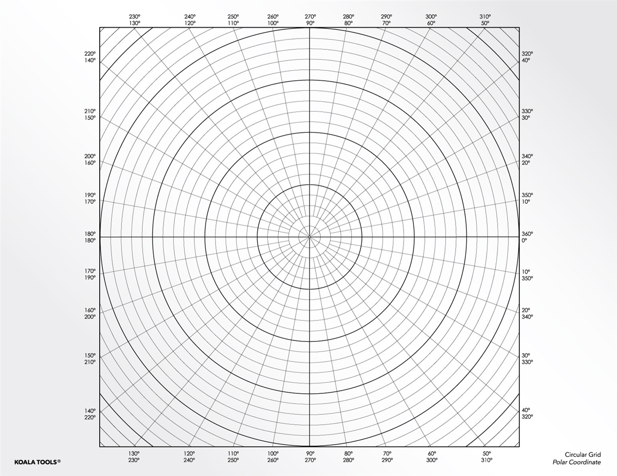 Circular Polar Coordinates Grid Transparency Sheet