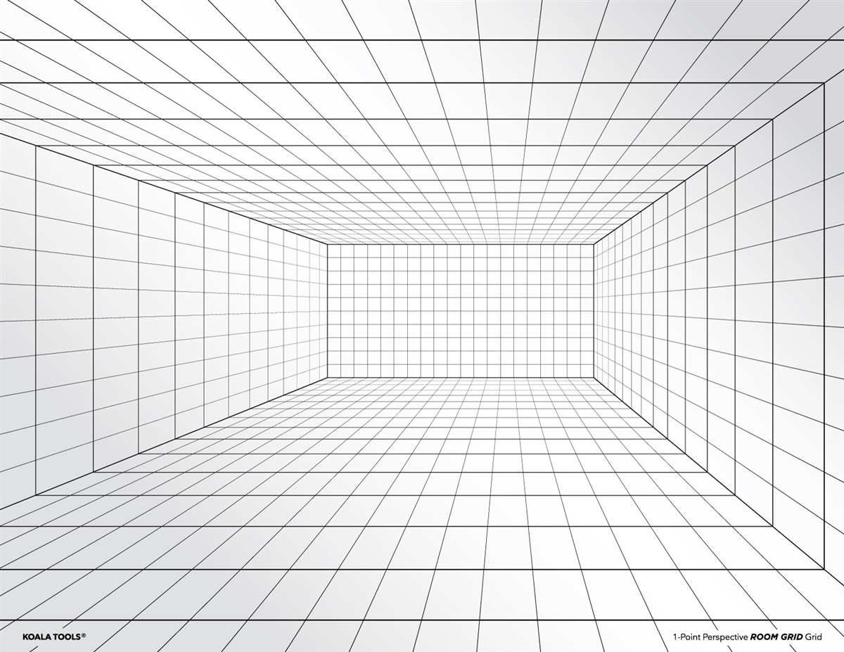 1 Point Perspective Room Grid Transparency Sheet