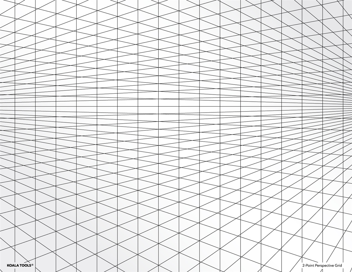 2 Point Perspective Grid Transparency Sheet
