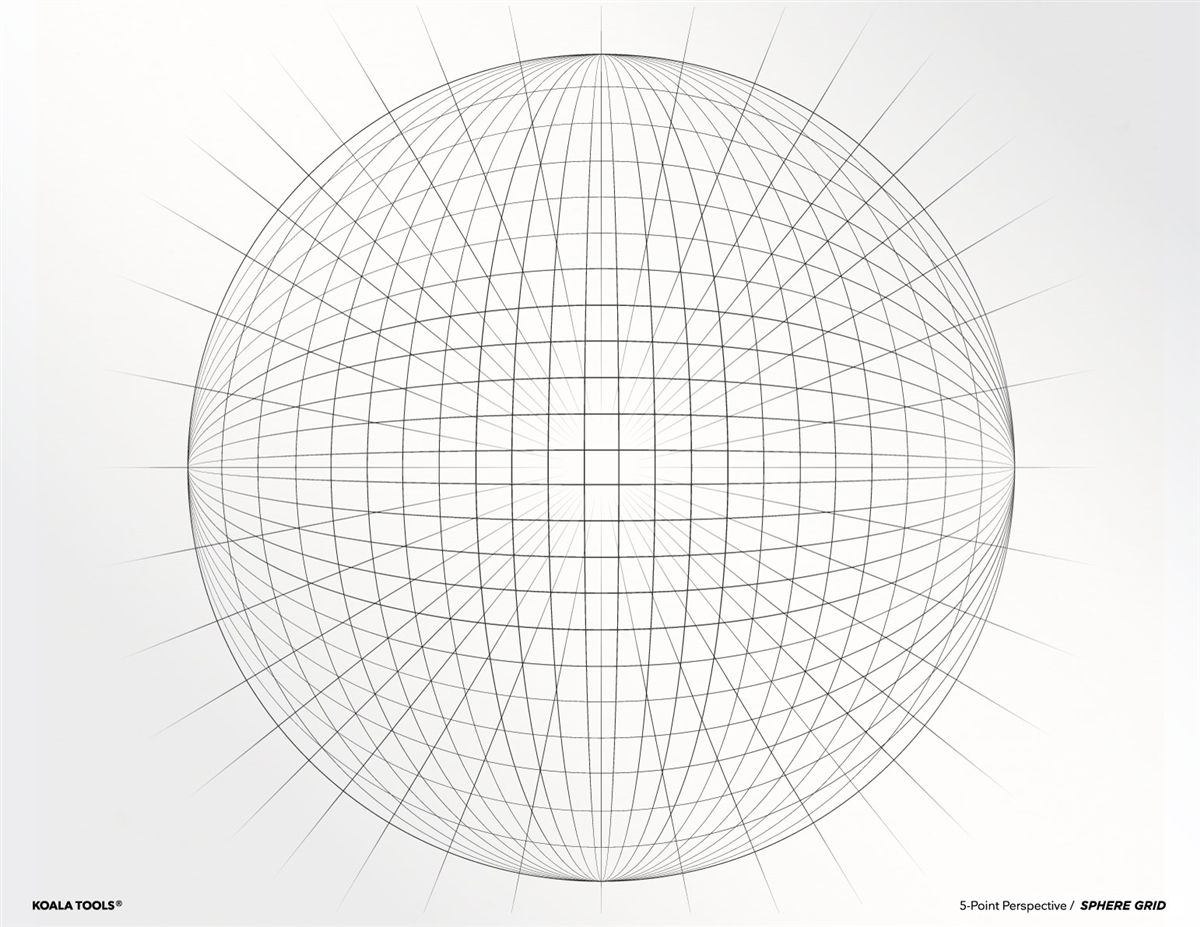 5 Point Perspective Sphere Grid Transparency Sheet