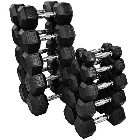 french fitness rubber coated hex dumbbell set 5 50 lbs new