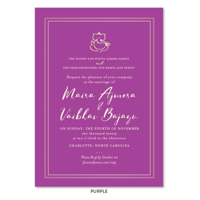 Gold Ganesha Wedding Invitations With