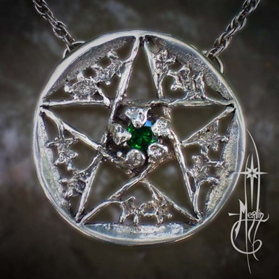Oak Pentacle with Stone Amulet