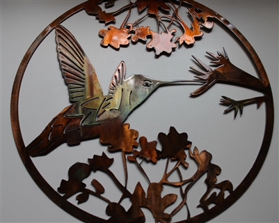 HUMMINGBIRD Circle METAL WALL ART DECOR Copperbronze Plated