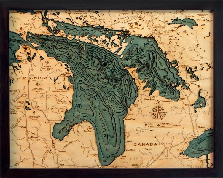 Custom Wood Charts of Lake Huron from Carved Lake Art  Nautical     View Larger Photo