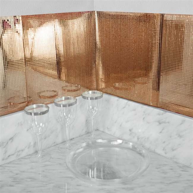 12 x12 rose gold peel and stick mosaic mirror wall tiles 10 pack