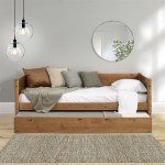 Mid Century Modern Twin Size Day Bed With Twin Trundle Castanho Finish