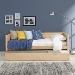 Mid Century Modern Twin Size Day Bed With Twin Trundle Scandinavian Oak Finish