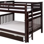 Mission Tall Bunk Bed Full Over Full Bed End Ladder Cappuccino With Twin Size Under Bed Trundle