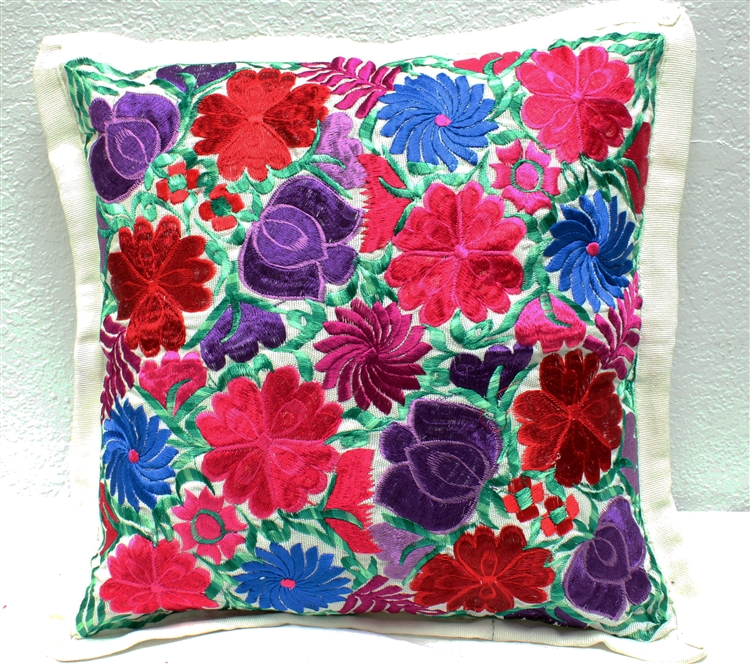 mexican embroidered pillowcase creme 3