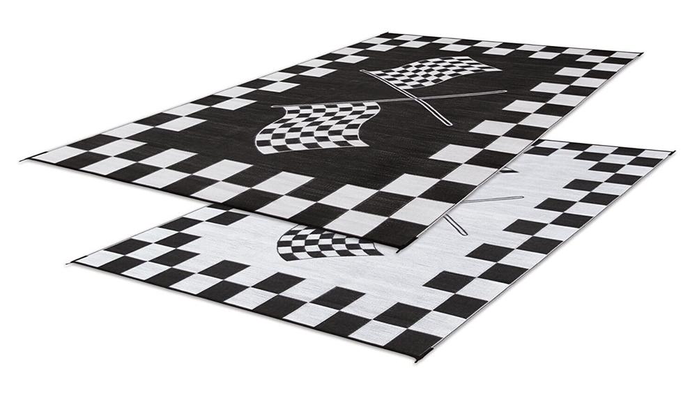 faulkner 48708 reversible rv outdoor patio mat black white checkered finish line design 9 x 12