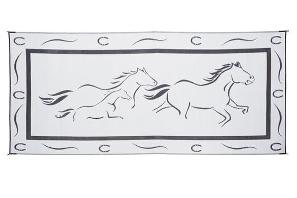 ming s mark gh8181 reversible rv patio mat black white galloping horses design 8 x 18