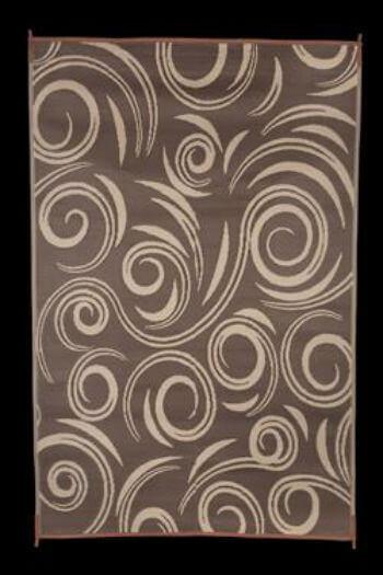 faulkner 68862 reversible rv outdoor patio mat brown beige swirl design 8 x 20