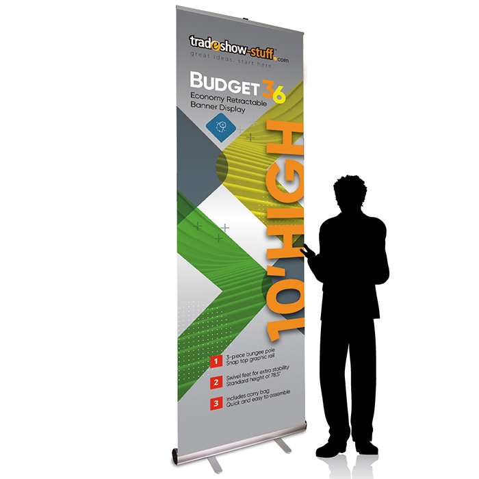 10ft tall x 36in wide budget retractable banner stand