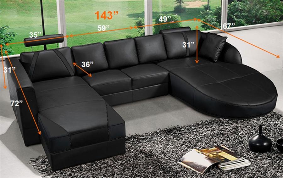 ultra modern black italian leather sectional sofa