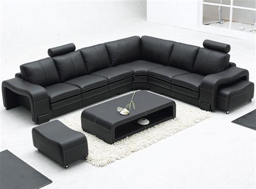 modern black leather sectional set