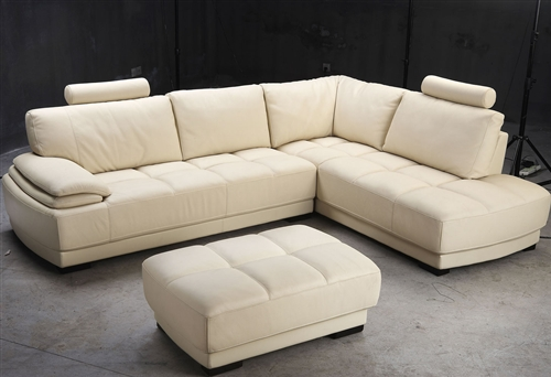 beige leather sectional sofa and ottoman set