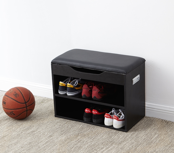 yak about it compact shoe rack bench with top cushion black