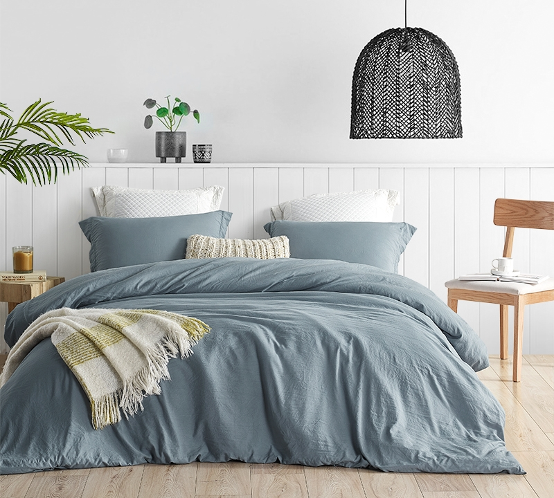 extra large queen comforter set high quality natural loft smoke blue bedding insert and machine washable cover