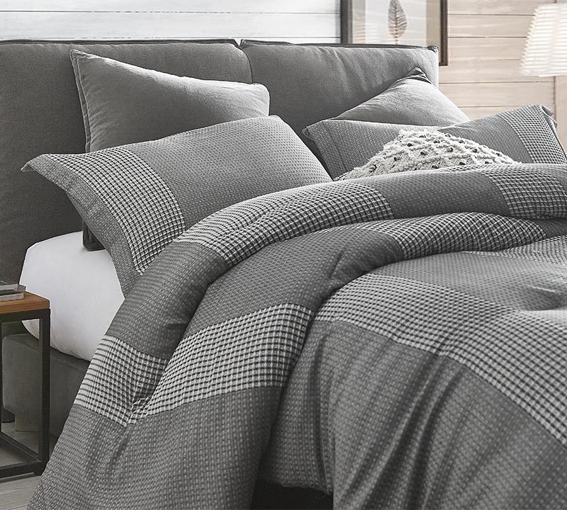 volume gray oversized king comforter 100 yarn dyed cotton