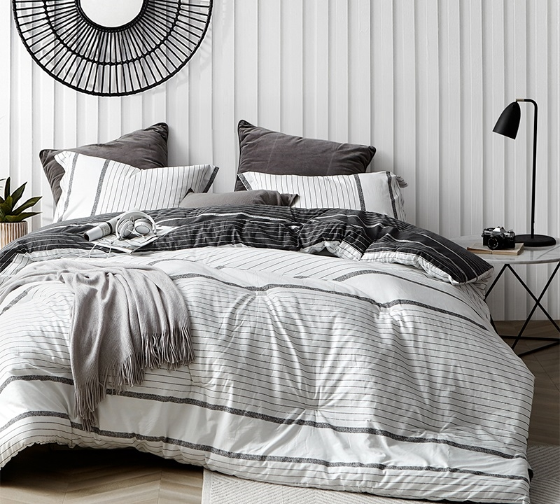 kappel black and white stripes oversized comforter 100 cotton