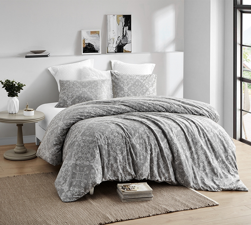 essential extra large king bedding set cotton jacquard kaleidoscope gray king oversize duvet cover set