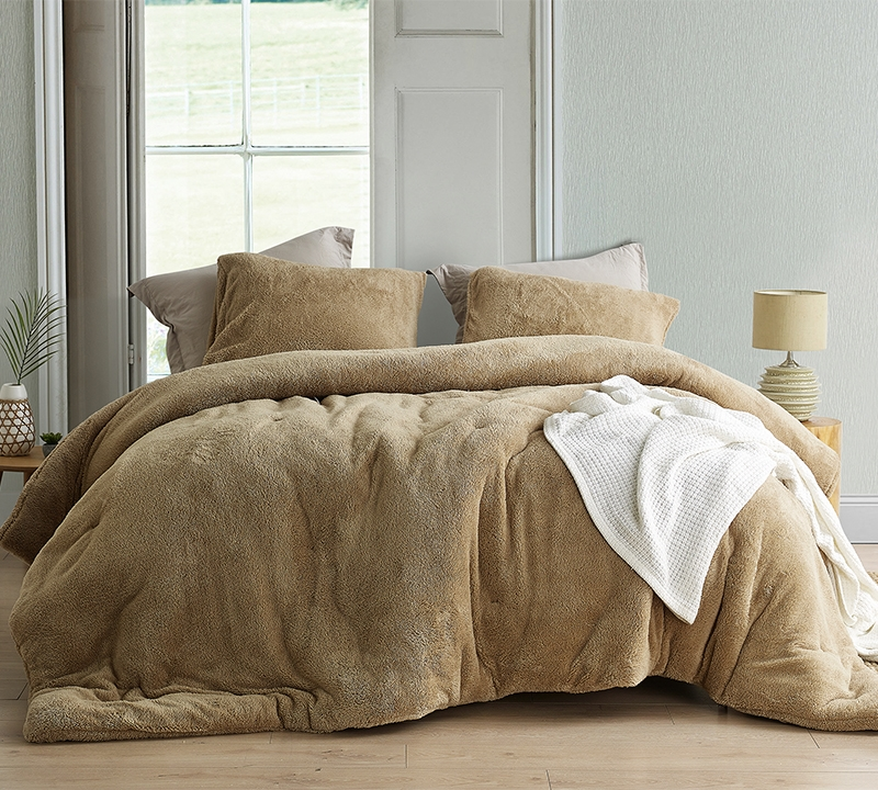 extra large king comforter with super cozy plush exterior and warm thick inner fill in easy to match taupe color