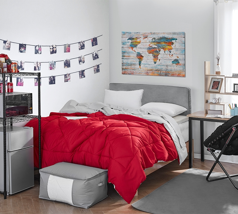 oversized full xl comforter with bold red or neutral gray beige reversible design with matching shams