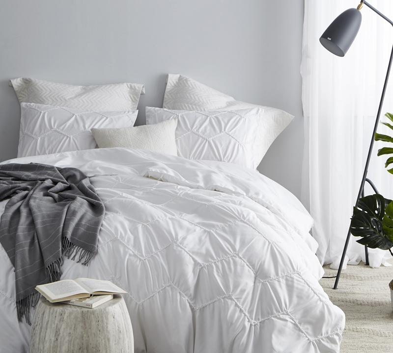 textured waves full comforter supersoft white oversized full xl