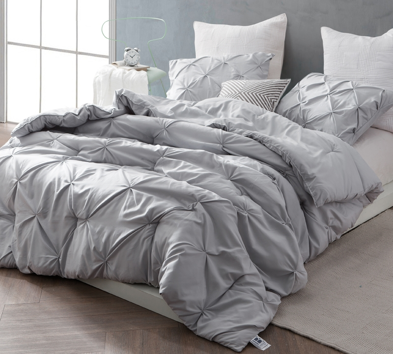 comfortable glacier gray king xl comforter essential king bedding with pretty pin tuck design