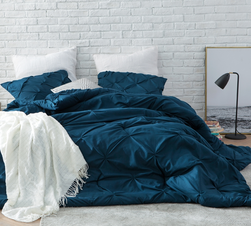 nightfall navy pin tuck twin comforter oversized twin xl bedding