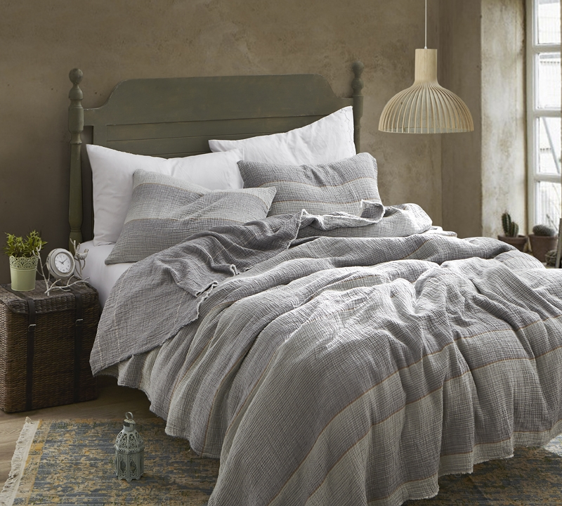 rustica portugal soft denim stone washed king california king quilt gray