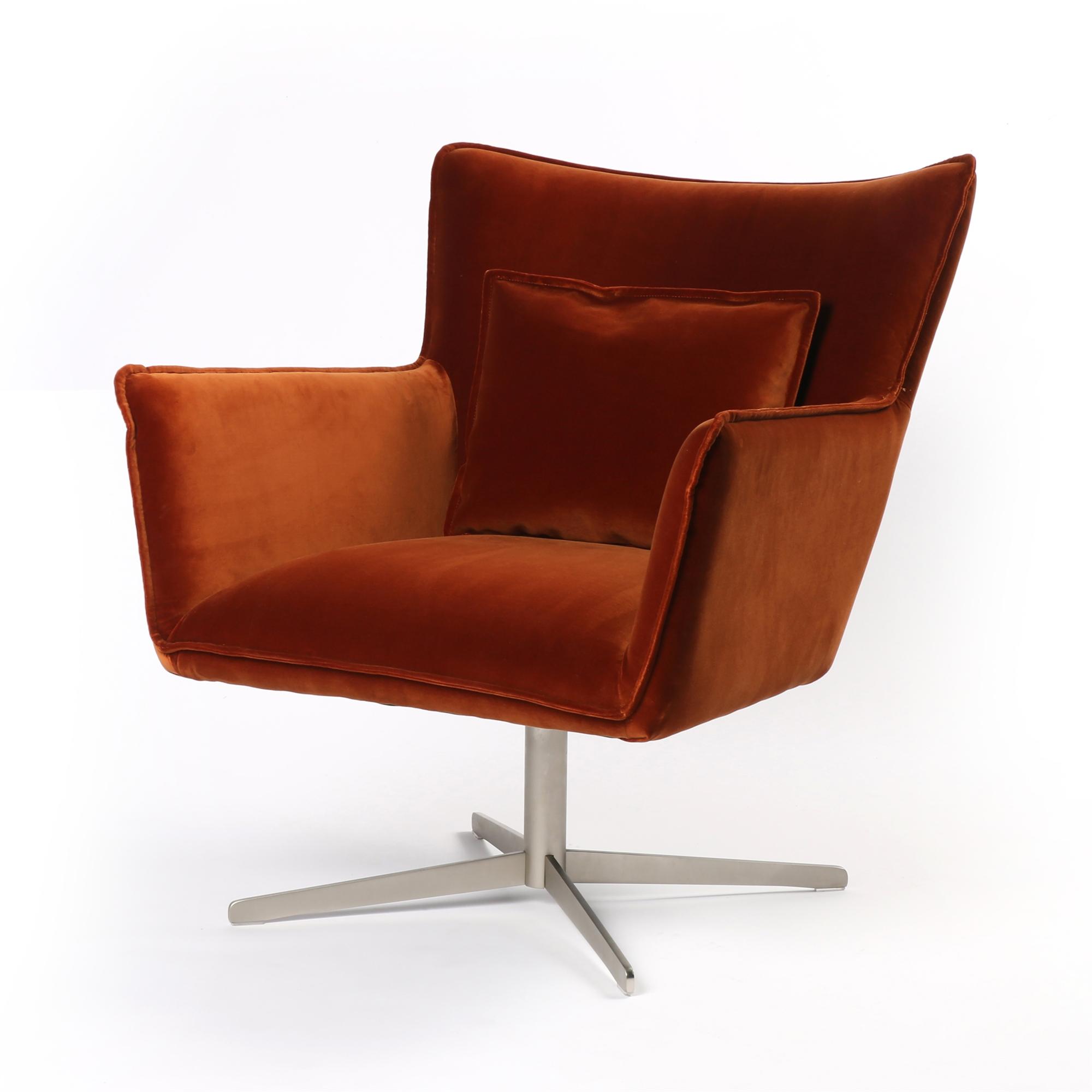 Jacob Swivel Chair In Velvet Sienna