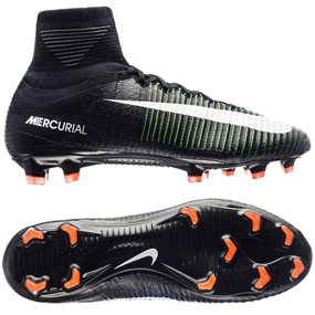 NIKE MERCURIAL SUPERFLY V FG SOCCER CLEATS (BLACK/WHITE/ELECTRIC GREEN)