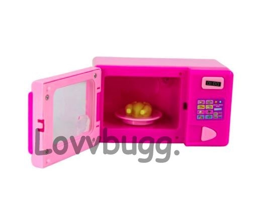 pink mini microwave oven american girl or wellie wishers dollhouse kitchen food accessory