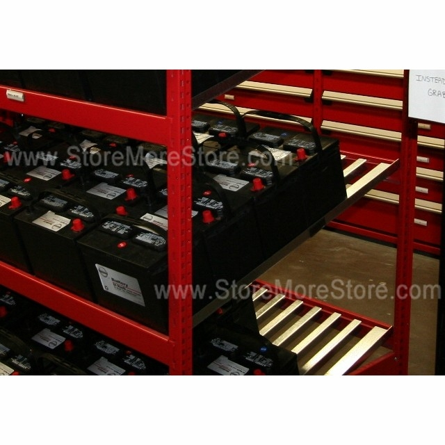 battery display rack with four slanted shelves and one steel decked shelf 48 wide x 48 deep x 87 high sms 81 srp0463