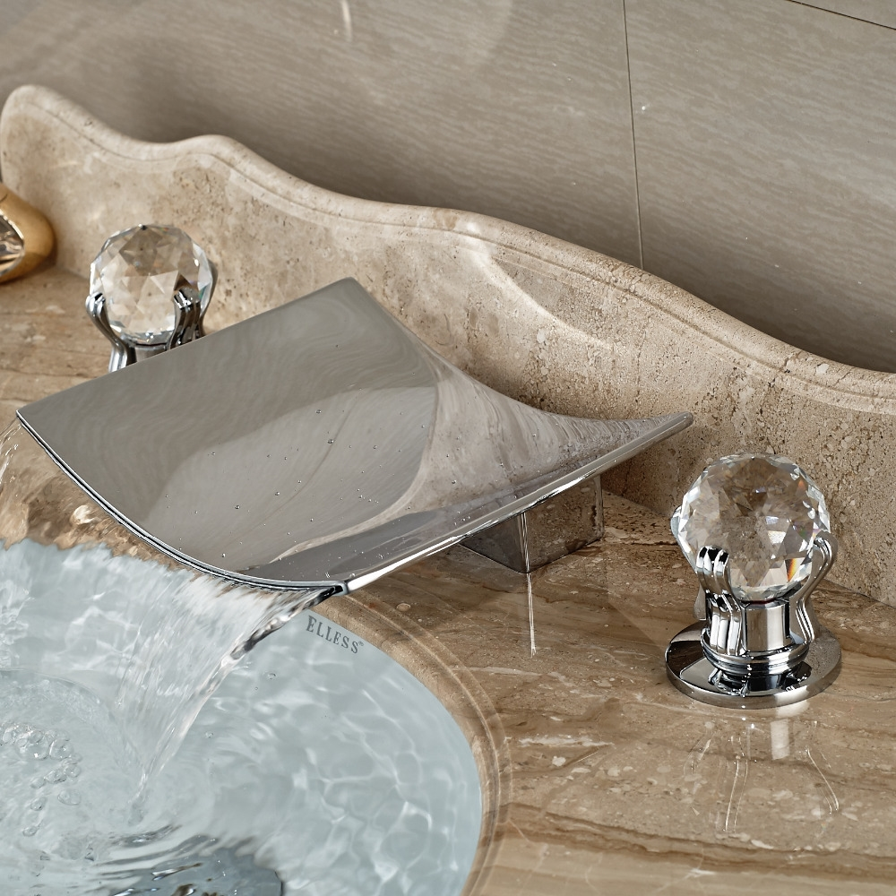 new luxury led crystal handle waterfall mixer bathroom widespread sink faucet