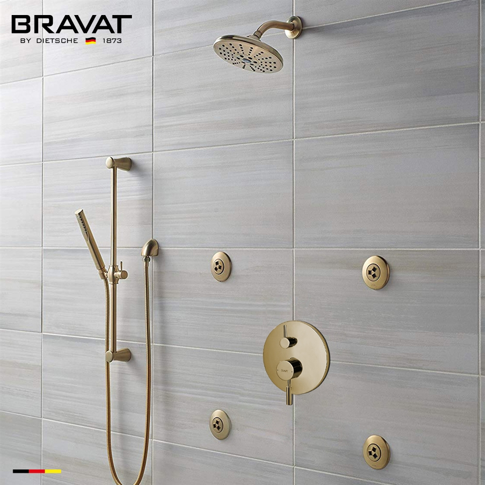 bravat brushed gold wall mounted round rainfall shower set with valve mixer 3 way concealed and four round body jets with handheld shower