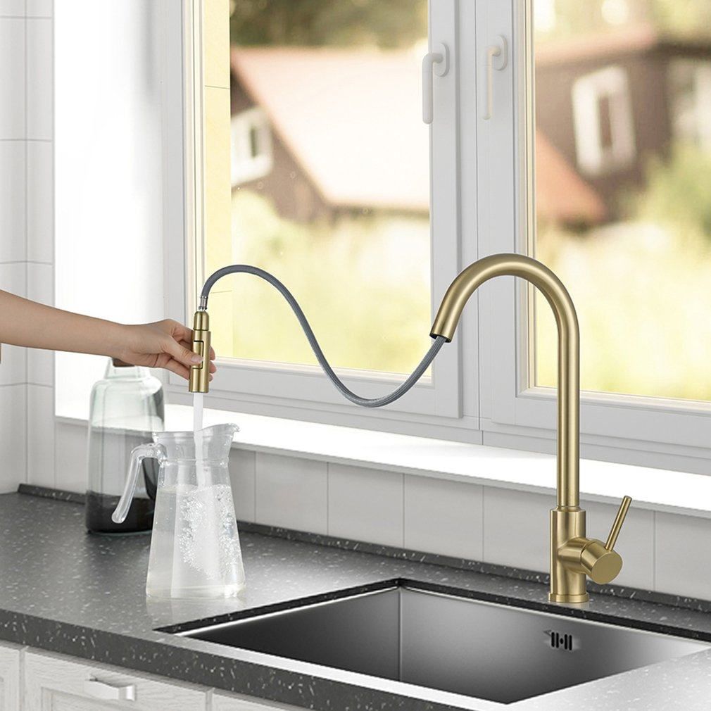 fontana dax stainless steel gooseneck kitchen sink faucet in gold