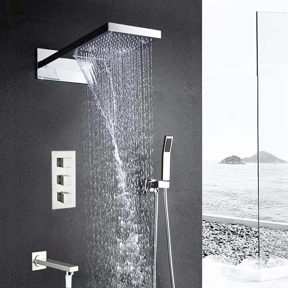 Florence Wall Mount Waterfall Rainfall Chrome Finish