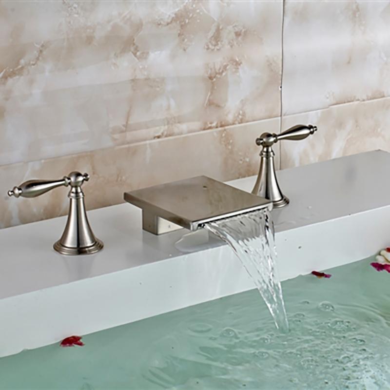 fontana long dual handle deck mount brushed nickel waterfall bathtub faucet