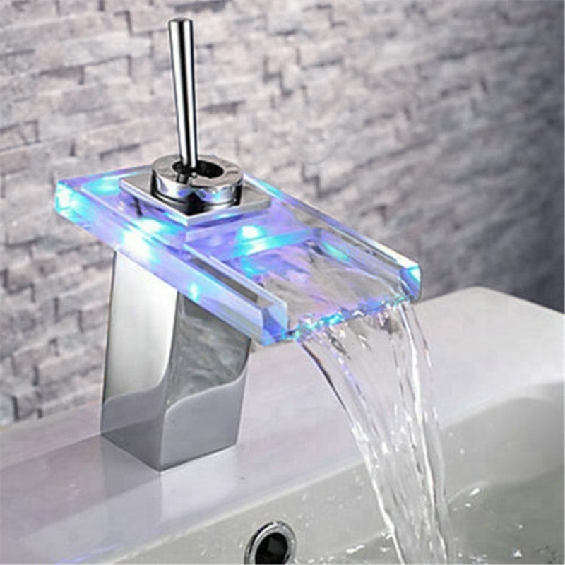 fontana led color changing glass bathroom sink faucet single lever
