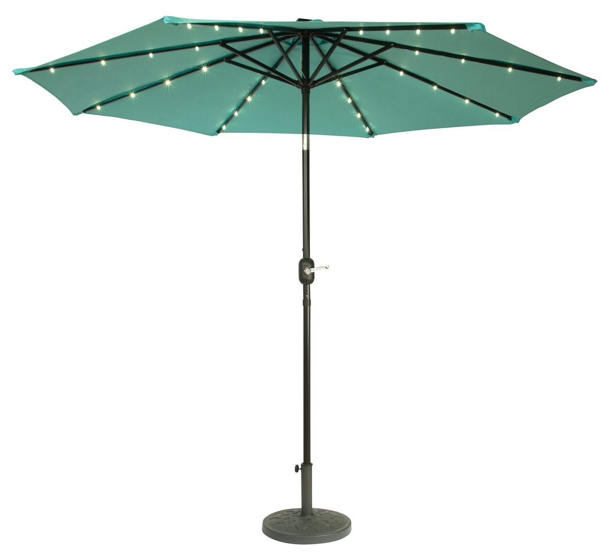 9 deluxe solar powered led lighted patio umbrella by trademark innovations teal