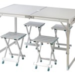 4 Person Aluminum Lightweight Folding Camp Table With 4 Stools By Trademark Innovations