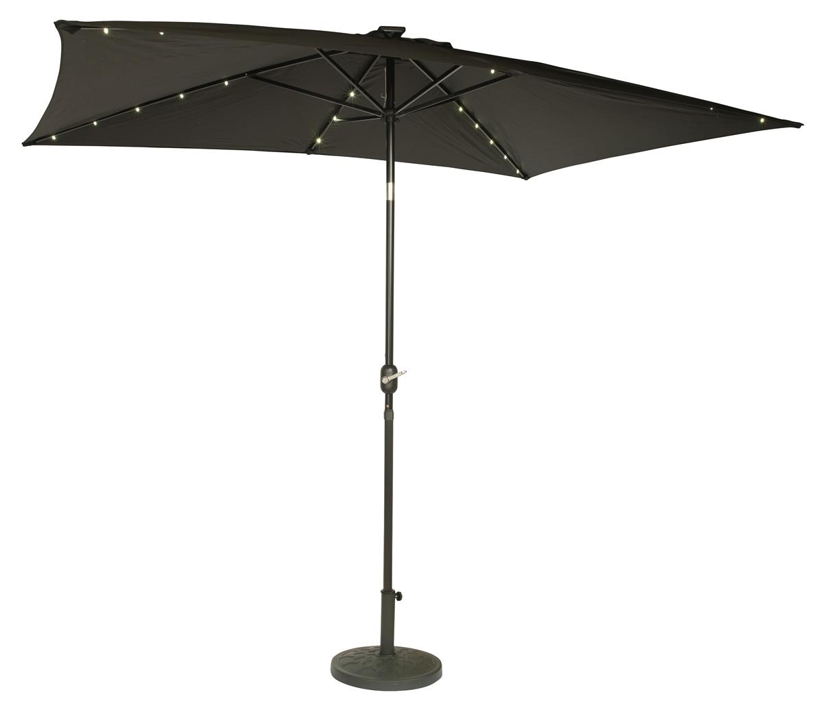 10 x 6 5 rectangular solar powered led lighted patio umbrella by trademark innovations black