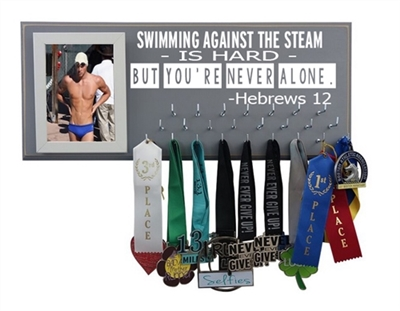Swim medal Holder - Olympic swimming logo - Hebrews 12