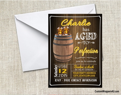 adult birthday invitation aged to perfection whiskey